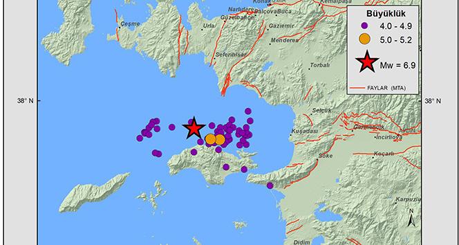 Ege'de 3 bin 457 artçı deprem meydana geldi