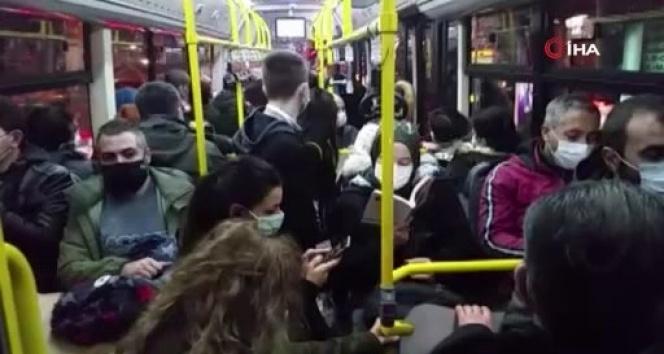 Kısıtlama öncesinde toplu taşımada dikkat çeken yoğunluk